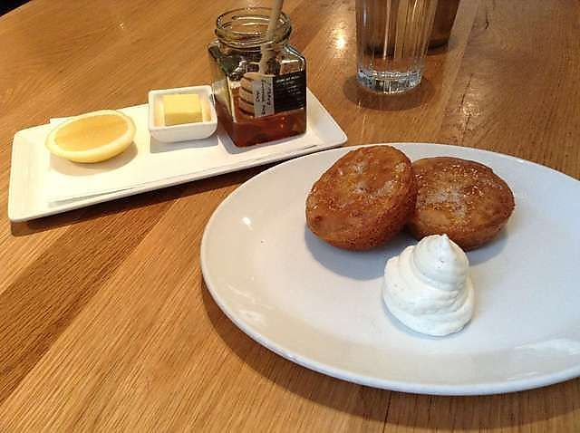 Cumulus Inc House made crumpets with rooftop honey and whipped ricotta