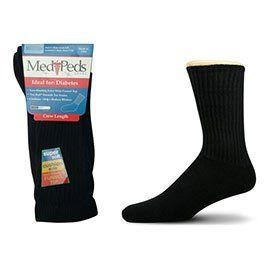 MediPeds Crew Socks (Large, Black) Medi. $3.79. These socks are very soft and comfy. They are great for those with diabetes, edema, neuropathy or circulation problems.  Small Fits Womens shoe sizes 4-7  Medium Fits Womens shoe sizes 7-10, Mens shoe sizes 6-9  Large Fits Womens shoe sizes 10-13, Mens shoe sizes 9-12  X-Large Fits Mens shoe sizes 12-14  Diabetic Socks, diabetes socks, diabetic socks, medipeds, MediPeds