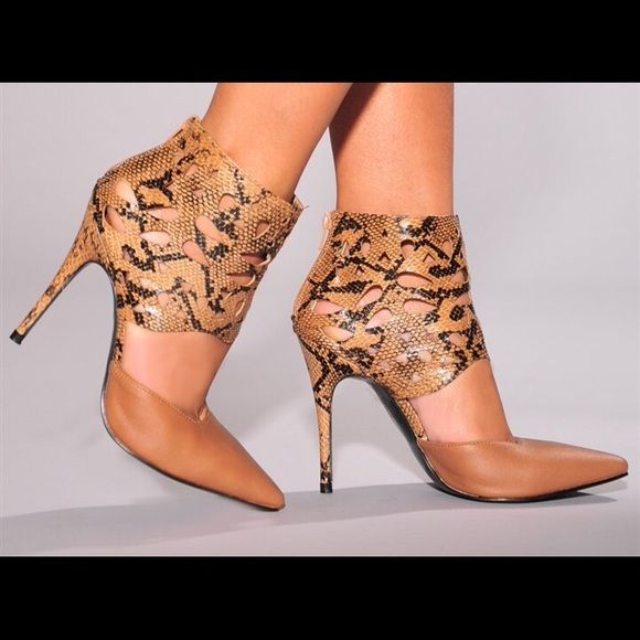 """NWT Tan 4"""" Stiletto Pump Snakeskin design This ultra-sexy laser cut stilettos combine fashion and fun. Featuring a square vamp and pointed toe, these stilettos will have you feeling like a super star.  Heel measures approximately 4"""" Maker's  Shoes Heels"""