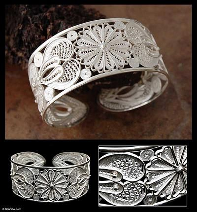 Silver filigree bracelet - Sunflower - NOVICA