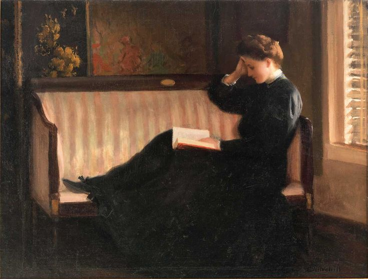books0977:  Woman Reading on a Settee (c.1905-1910). William W. Churchill (American, 1858-1926). Oil on canvas. In the Fenway Studios, Churchill painted this work, which shows his talent for portraying light and conveying atmosphere. Like other Boston School painters, Churchill's interior scenes recall Dutch Old Master paintings in their quiet, restrained elegance, streaming light, and studied placement of objects. The work shows Churchill's refined brushwork, particularly his graceful…