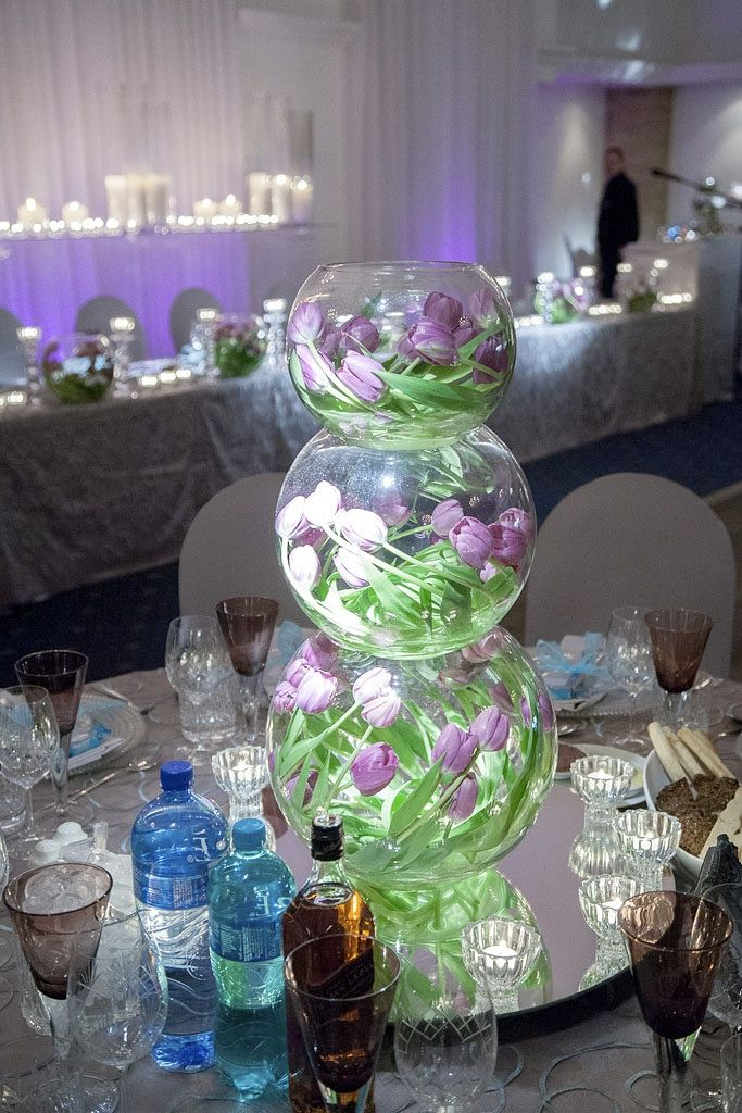 Close up of the #fishbowl centre piece