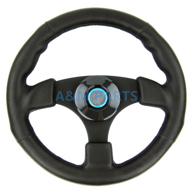 Sport Marine Steering Wheel Polyurethane Leather Grip Alloy Aluminum Spoke Boat Steering 13-1/2""