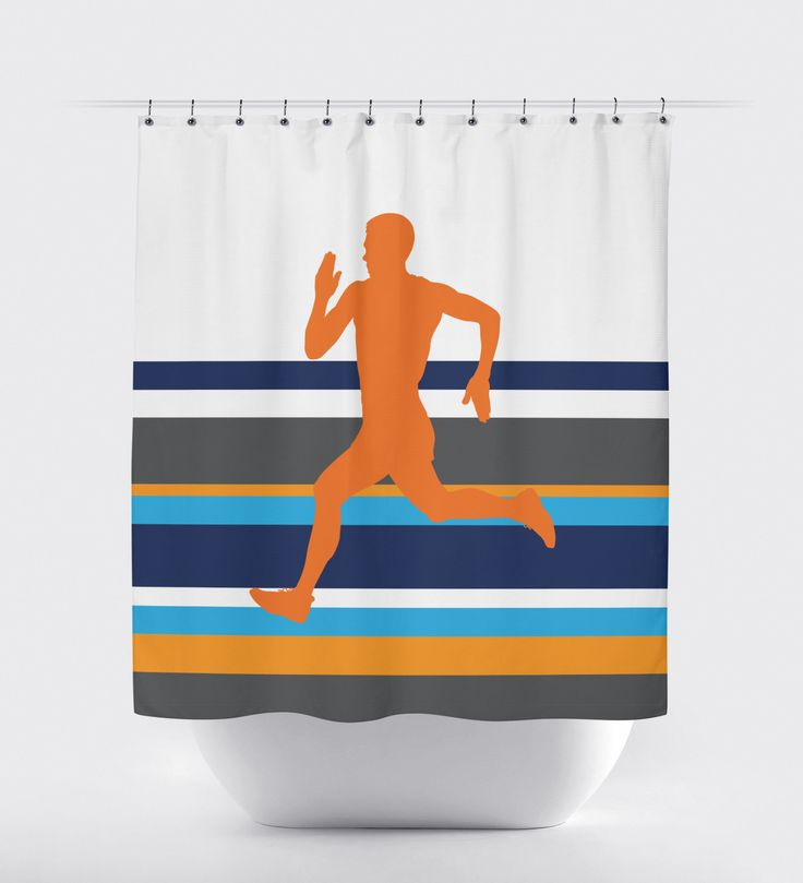 We know you love to run! Our striped running themed shower curtain will help show off your love for the sport! You can customize this shower with any colors from our palette or order it in the orange, charcoal grey, navy blue, turquoise and white color combo shown. This custom shower curtain is the perfect bathroom decor for any boy or teen runner. Great Christmas present or birthday gift!
