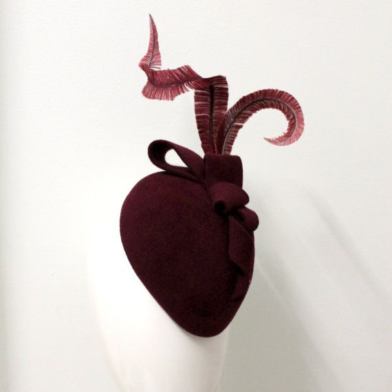 Burgundy fur felt cocktail with hand by WendyLouiseVintage on Etsy