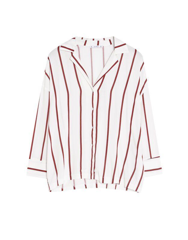 672e0b9dc7 Camisa cuello solapa rayas - Blusas y camisas - Ropa - Mujer - PULL amp BEAR