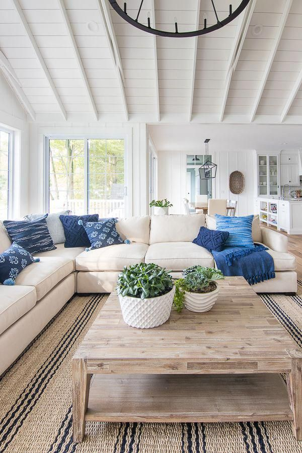 Navy and French Blue Pillows   Beach house living room ...