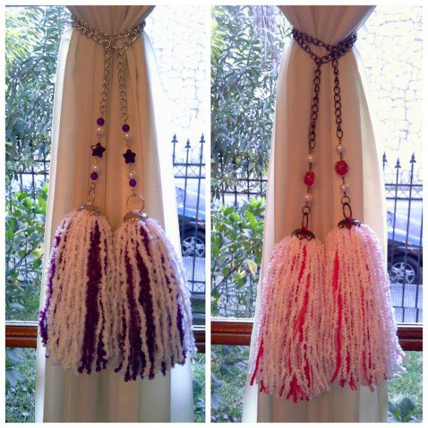 Sujetadores para cortinas borlas y colgantes decorativos - Como hacer cortinas de tiras ...