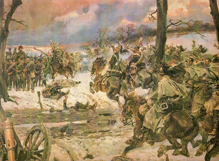 La cavalerie de la Garde se jette sur les carrés russes (peinture de Wojciech Kossak).
