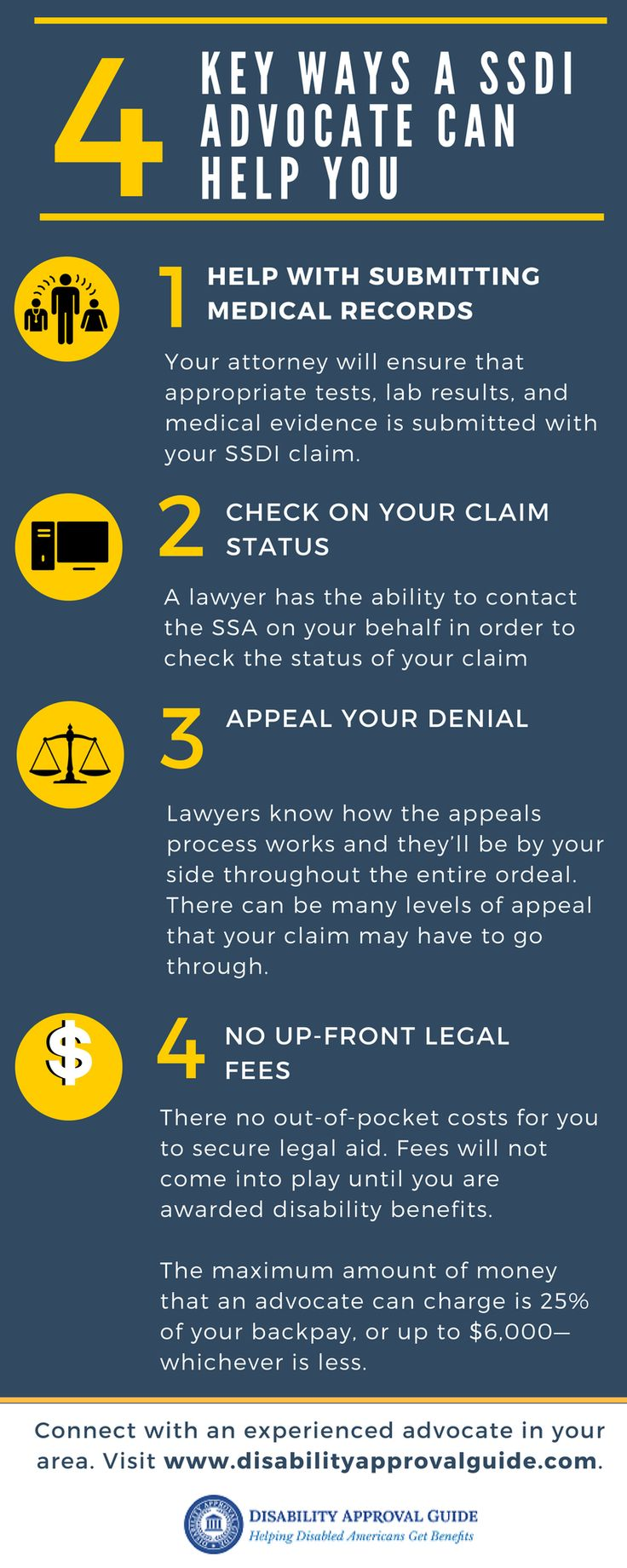 Filing your SSD claim with the help of an advocate/attorney can potentially increase your chance of initial approval and shorten your time to receive benefits. They will know exactly how to complete the forms properly and collect the required documentation to potentially shorten the SSD approval process. Learn more about how the help of an attorney/advocate can potentially improve the time to receive benefits simply request a FREE, no-obligation consultation. Click on the link for more.