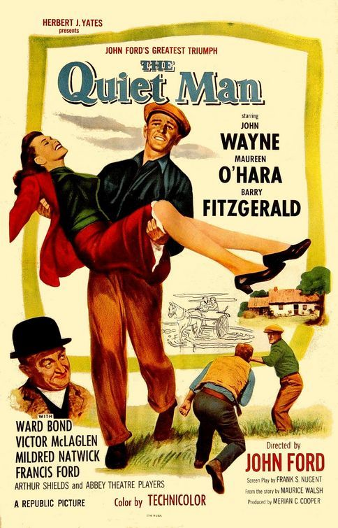 The Quiet Man (1952) - John Wayne Sean Thornton (John Wayne), un boxeador norteamericano, regresa a su Irlanda natal para recuperar su granja y escapar de su pasado. Nada más llegar se enamora de Mary Kate Danaher (Maureen O'Hara), una chica muy temperamental, aunque para conseguirla deberá luchar contra las costumbres locales, como el pago de la dote, y, además, contra la oposición del hermano de su prometida (Victor McLaglen)