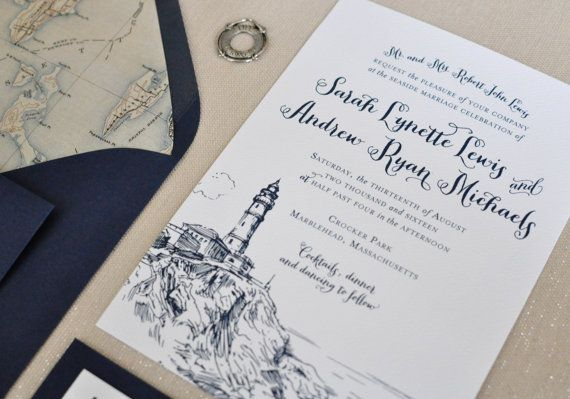 Nautical Wedding Invitation Coastal Wedding by CoppiaCreativa