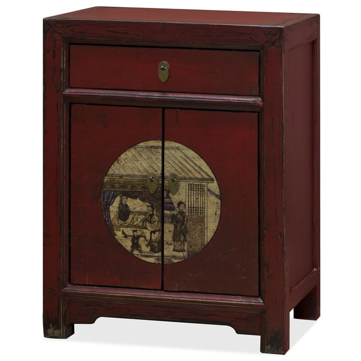 Constructed entirely of elm lumber reclaimed from rural Chinese villages, each panel is hand painted by master artisans. The design on its door panel takes inspiration from traditional Chinese scroll painting, and features beautiful daily court life scenery on a distressed red background. The overall distressed warm red finish makes this cabinet a bright and colorful work of art. One single door compartment and one drawer provide ample storage space. A removable shelf inside for your storage…