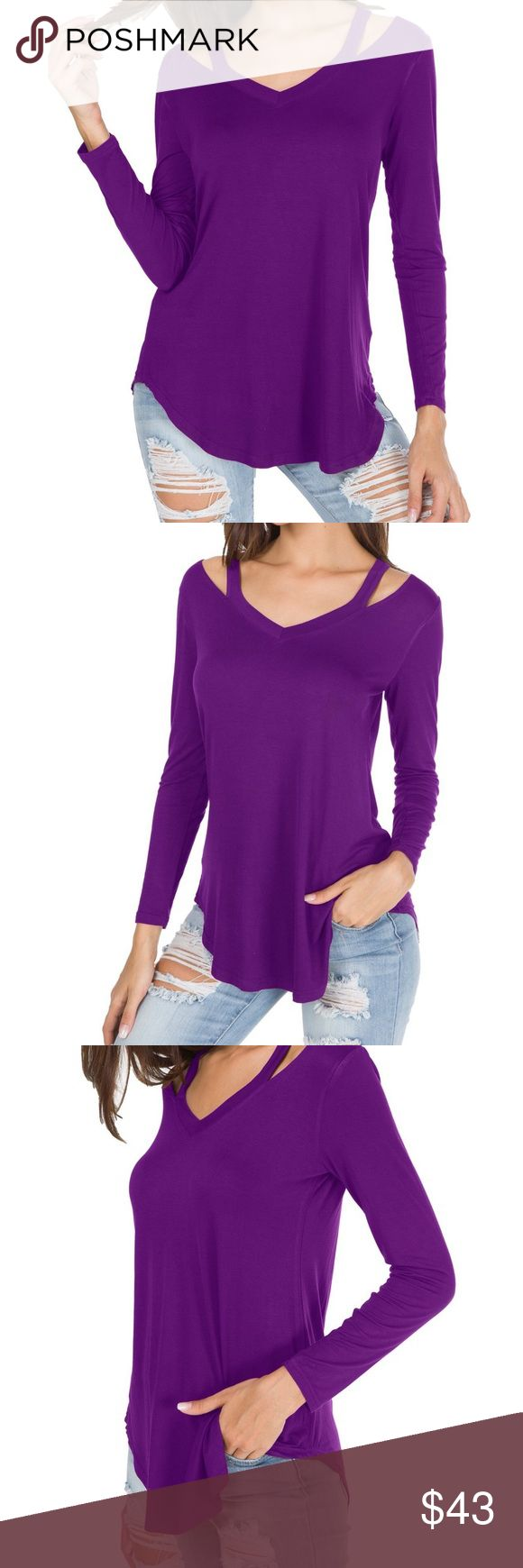 Long Sleeve Hollow Out V Neck Slim Fit Blouse Top Color: Purple Material: 95% RAYON/5% SPANDEX.Good Elasticity, Soft and Comfortable Selling Point:Sexy Hollow out V Neck Blouse T Shirts,Slim Casual Tees Tops Style Fit: Boots/Jeans/Leggings Suitable Occasion: Casual/Work/Home US Size:Large-US(12-14);Medium-US(8-10);Small-US(4-6);X-Large-US(16) EllaB Tops Blouses
