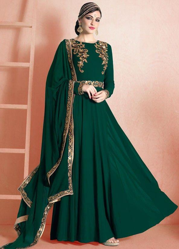 Ravishing Bottle Green Anarkali Suit - Indian Salwar Kameez - Salwar Kameez - Women