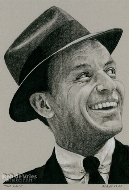 """November 2016, Frank Sinatra """"The voice"""", Charcoal, ink and white chalk on colored paper, 21 x 15 cm. For sale. www.robdevries.com"""