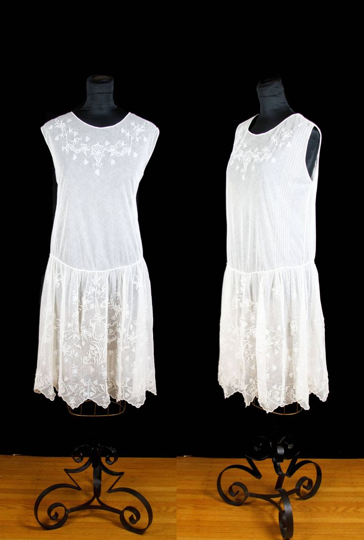 Vintage 1920s Dress Embroidered White Lace Net Tulle