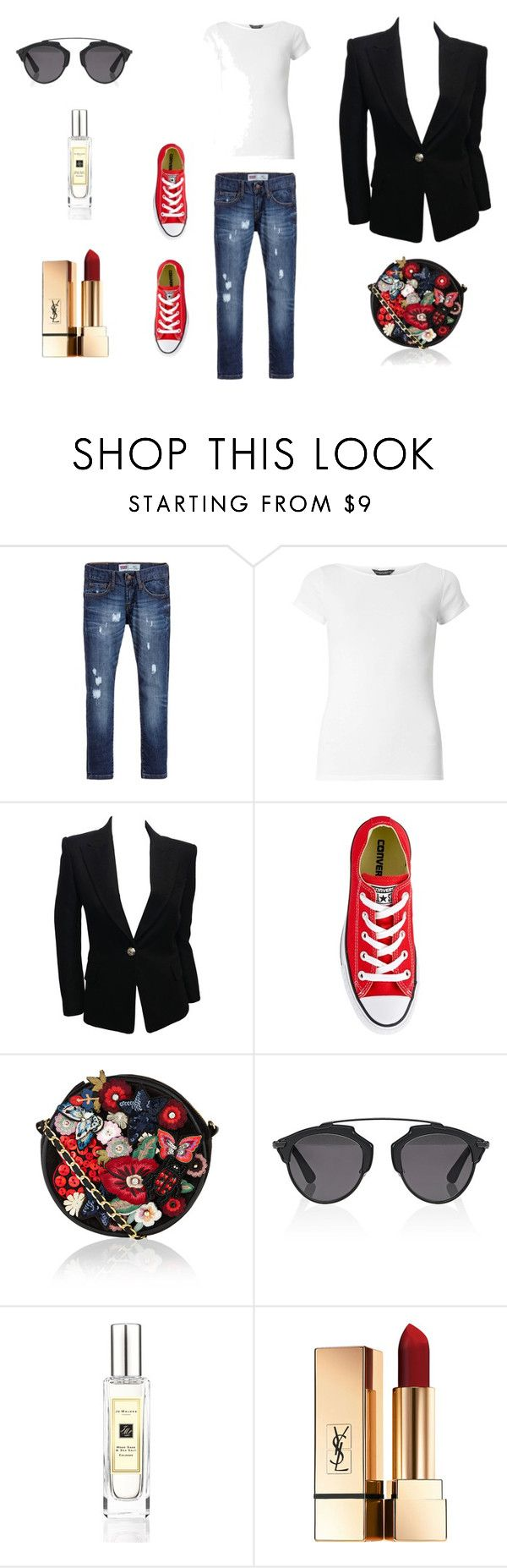"""free as a bird"" by janka-dzurillova on Polyvore featuring Levi's, Dorothy Perkins, Balmain, Converse, Accessorize, Christian Dior and Jo Malone"