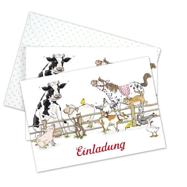 Mit Dieser Süßen Einladung Kommt Man Doch Gerne Zu Einer Bauernhofparty Set  Mit 6 Postkarten Und 6 Umschlägen (innen Bedruckt). Ob Zum Kindergeburtstag