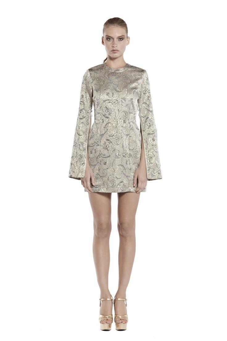 crystal shards long sleeve body con dress