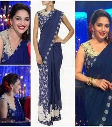 Buy Madhuri Dexit Blue Fancy Designer Saree madhuri-dixit-saree online