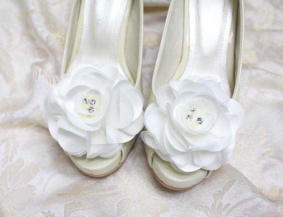 Wedding shoe clips  bridal shoe clips white satin shoe by mirino, $19.00