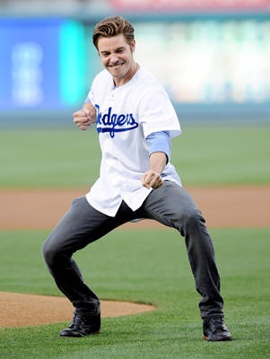 Actor Josh Henderson throws out the first pitch before the game between the Chicago White Sox and the Los Angeles Dodgers at #DodgerStadium on June 15, 2012.  http://celebhotspots.com/hotspot/?hotspotid=6452&next=1