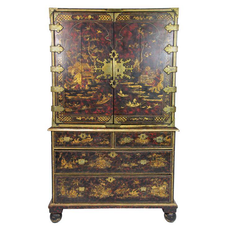 Wonderful Chinoiserie   Faux Tortoiseshell Painted U0026 Gilt Decorated Cabinet