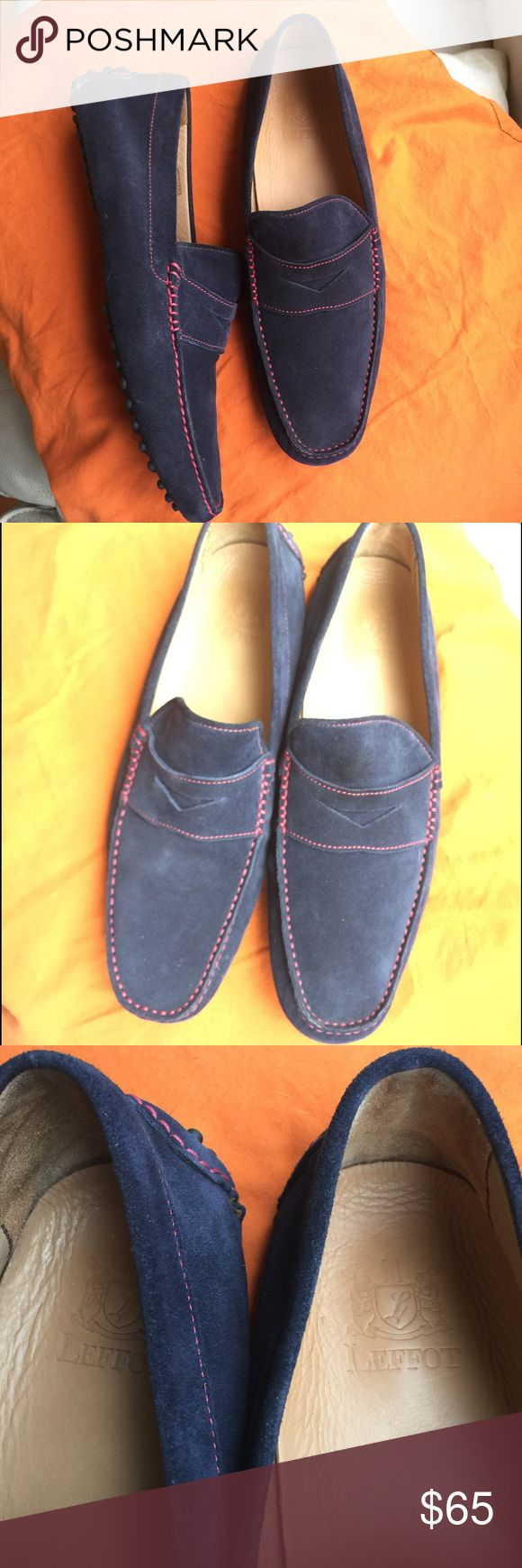 Leffot driving loafers shoes 42 Leffot driving shoes. Loafers. Navy blue. Genuine leather. Very high end NY and London brand. EUC. Marked size 42, which European men's 9. Per my hubbie, fits true to 9.5 , but his foot too wide. So, I would say for regular or narrower feet will work better. Leffot Shoes Loafers & Slip-Ons