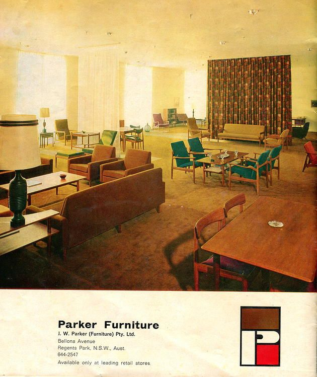 Parker Furniture. Original magazine ad. This is fantastic reference for identifying pieces from the time and also what the original colour fabrics and vinyl was used.