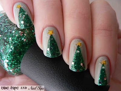 Blue Tape and Nail Tips: Easy Christmas Trees. Tested: http://pintester.com/2012/12/cocknails-holiday/