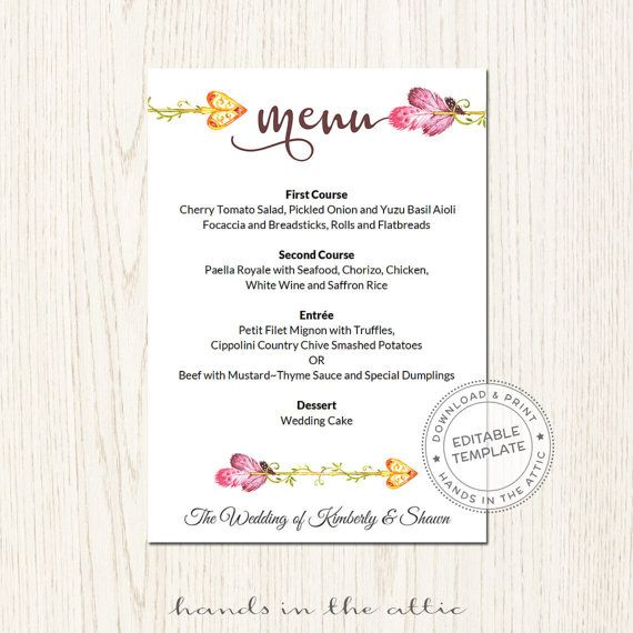 53 Best Wedding Menu Cards Images On Pinterest | Wedding Menu