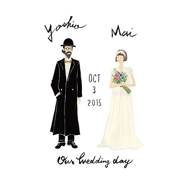 Yoshio & Mai Our Wedding Day ⛪️ #cuicui_illustboard #Illustrator #illustration #welcomeboard #ウェルカムボード #プレ花嫁 #wedding