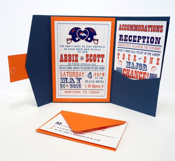 Football Wedding Invitation- Amazingly tailored for you with your one of a kind monogram logo on Etsy, $9.50