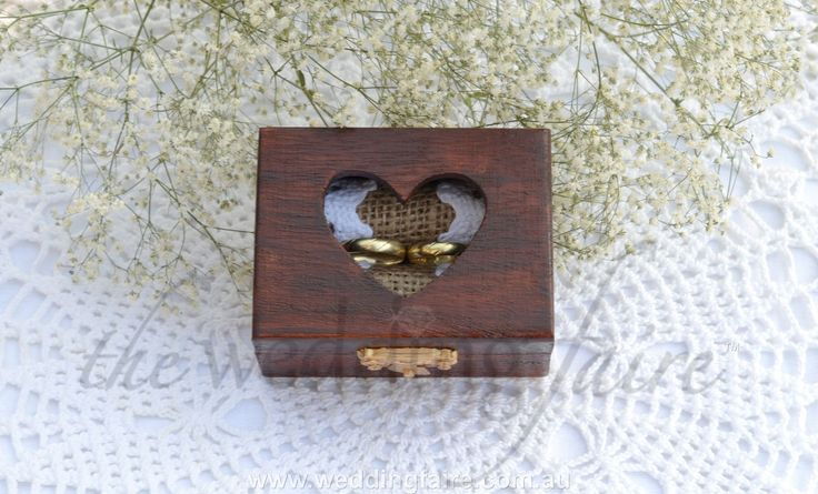 Made to Order - Mahogany Heart Window Rustic Ring Box - Burlap & Lace Insert - The Wedding Faire