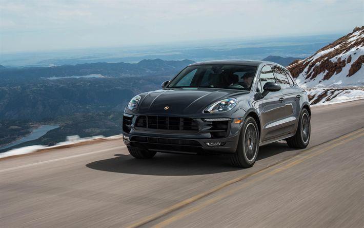 Download wallpapers Porsche Macan, 2018, luxury sports SUV, German cars, black Macan, road, speed, Porsche, 4k
