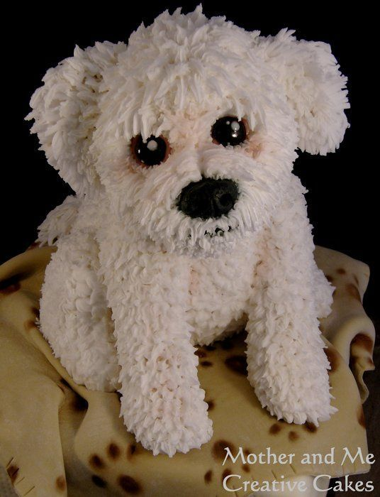 """Cute Dog! ~ Another of our doggy carved cakes from Mother and Me / """"It is the amount of heart you put into your work that will determine how beautiful it will be"""" ~   Angie & Becky 
