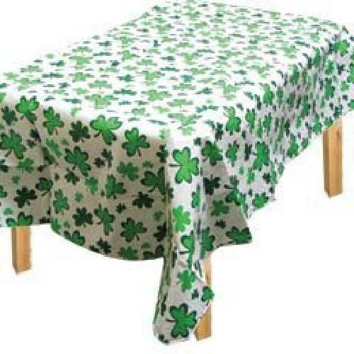 PREMIUM Vinyl Table Cover Lucky Irish Green St Patrick's Day Shamrocks Reusable  #Amscan