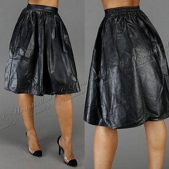 Trendy Geplooide Lange Lederlook Rok Zwart