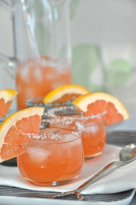 Grapefruit galore  1/4 cup pink grapefruit 1.5 oz vodka 1 tsp pomegranate liqueur 1 tsp simple sugar juice of 1/4 lime 1 wedge of grapefruit for garnish swirl a slice of grapefruit over the rim of each glass, dip in salt, fill with ice & set aside combine ingredients in a cocktail pitcher, stir & pour garnish with grapefruit wedge
