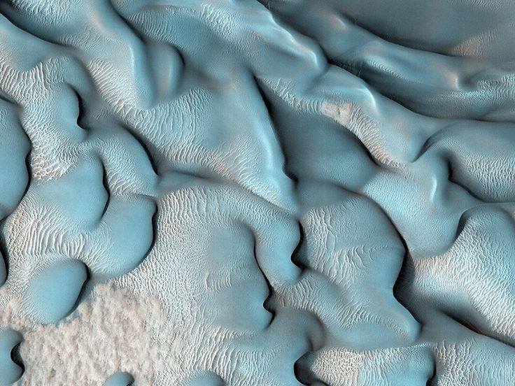 Blue Dunes of Mars: This image shows a variety of different dune types in southern Lyot Crater in the Northern lowlands at 48.9 degrees north.