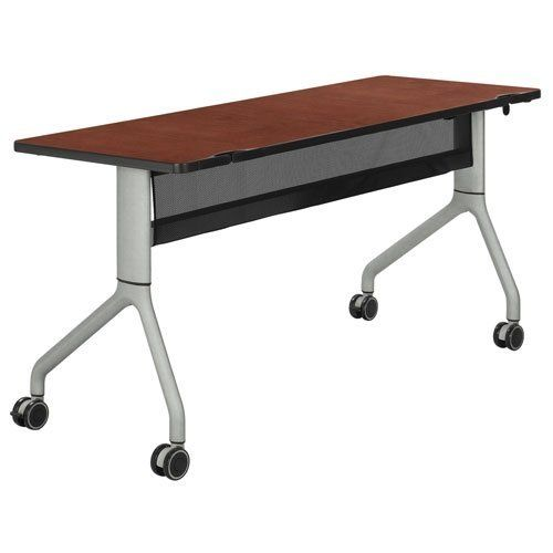 """Rumba Rectangular Table Top Finish: Cherry Top, Base Finish: Metallic Gray by Safco. $392.94. 2042CYSL Top Finish: Cherry Top, Base Finish: Metallic Gray It's your day. Dance through it. RumbaTM Nesting Tables are available in a variety of shapes that offer a vivaciously agile, change-me when-you-need-me solution for every meeting style. And they're customizable too! Whether It's bold and exciting laminates Features: -Steel Frame Base. -1"""" Thick High Pressure La..."""