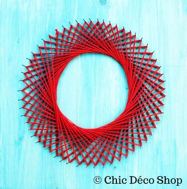 String art - simple red circle