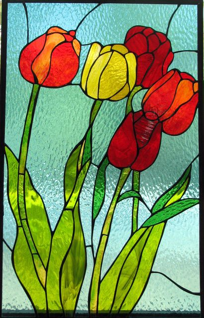 34 stained glass- vitrage flowers More
