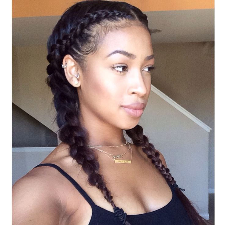 Cute French Braids - http://www.blackhairinformation.com/community/hairstyle-gallery/relaxed-hairstyles/cute-french-braids/ #braids #protectivestyle