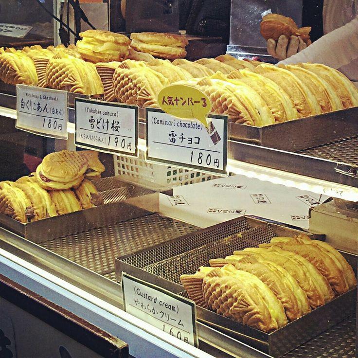 Taiyaki - Japan. Street food. Crispy pastry filled with ted bean paste/ chocolate/ custard filling