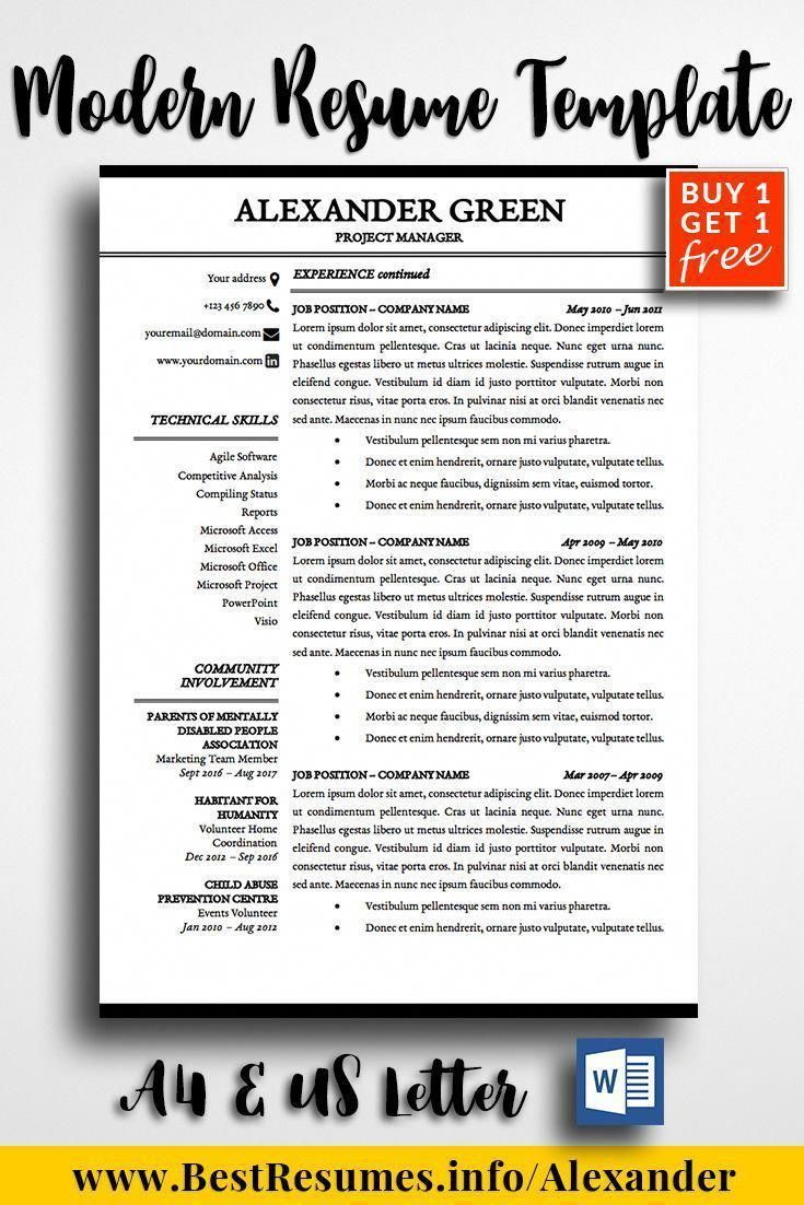 Modern resume design template for Word, 2page resume