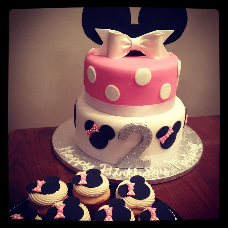2nd Birthday Minnie Mouse Cake And Cupcakes!