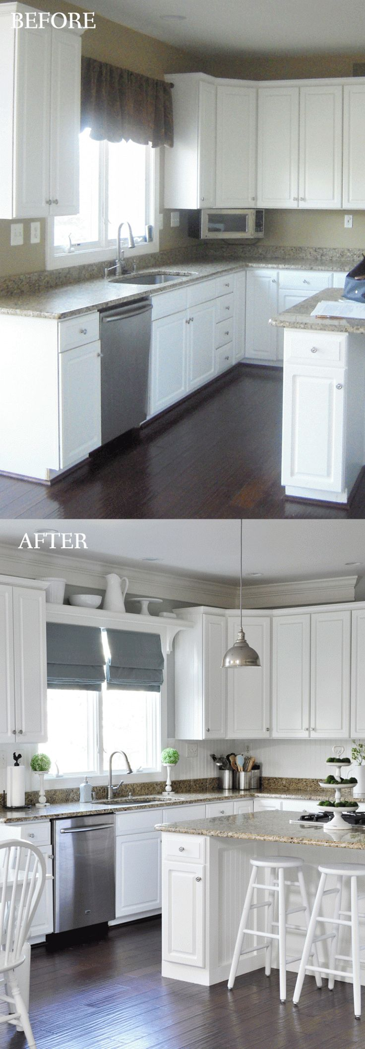 Adding trim to the end of the cabinets, plus that shelf over the sink goes perfectly with the roman shades