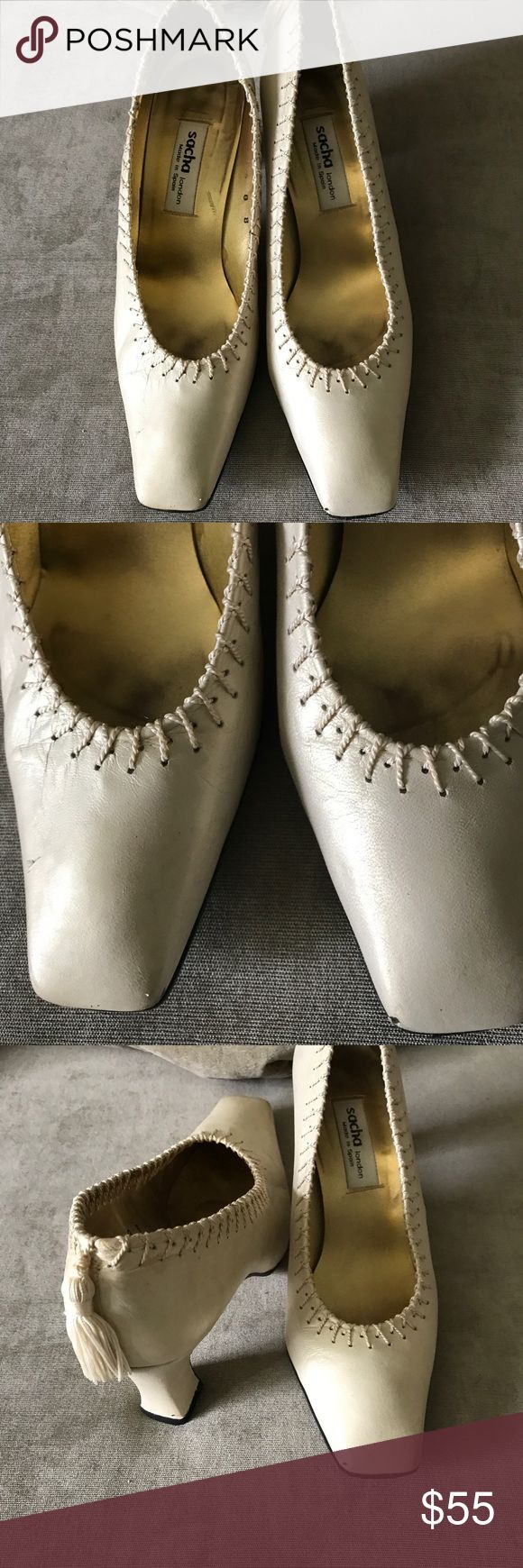 🦋SACHA HEELS Champagne colored Sacha Heels. There is a tassel on back of both shoes. There on one small scratch on the roe on one shoe and on the side of another. Size 8 B Sacha London Shoes Heels